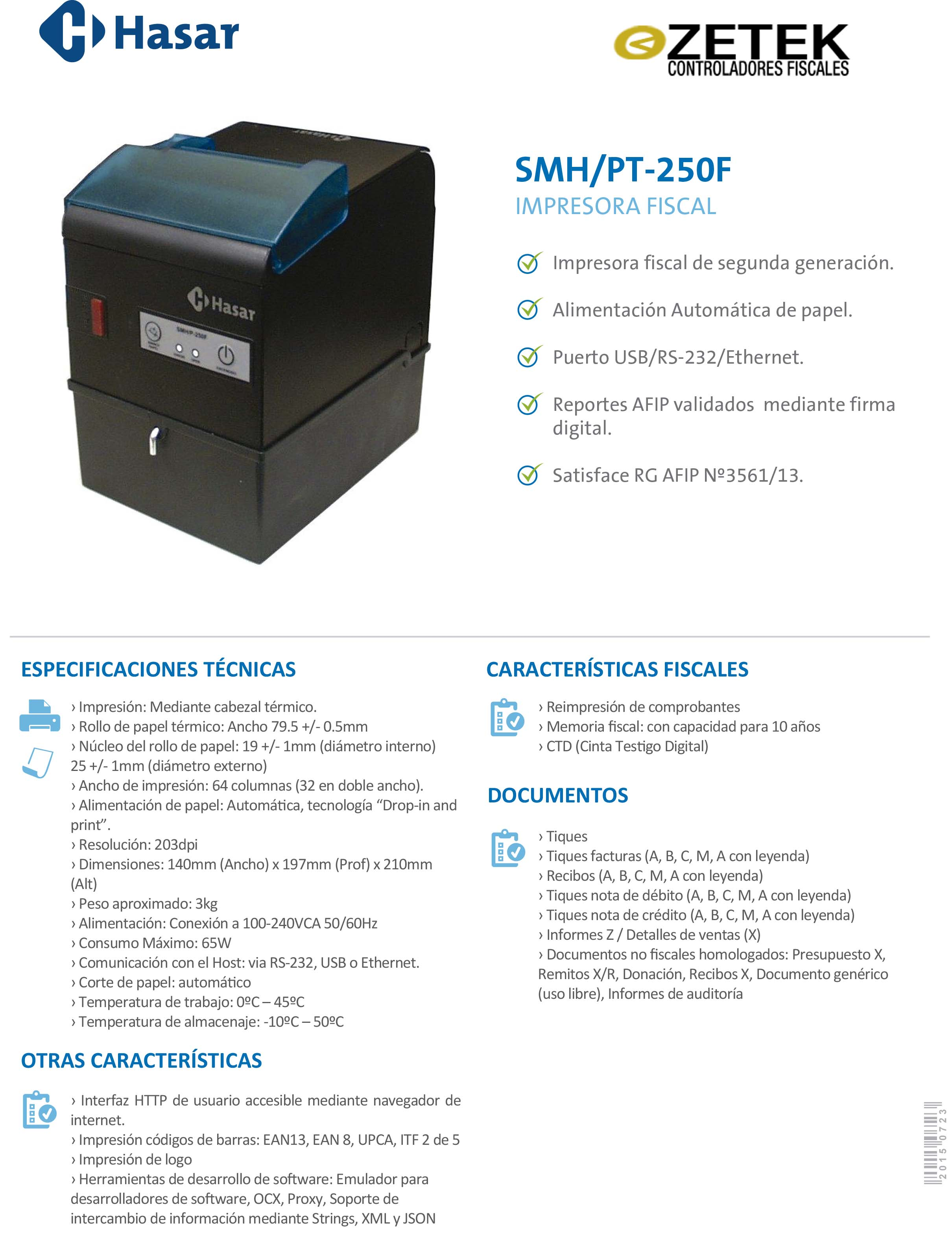 Hasar SMPT250F Impresora Fiscal Nueva Generación